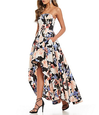 Xtraordinary Floral Print Long High-Low Dress