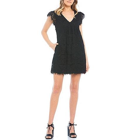 Xtraordinary Flutter Sleeve V-Neck Lace A-Line Dress