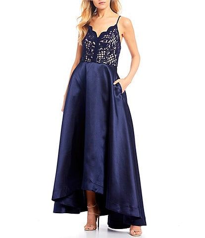 Xtraordinary Glitter Lace Bodice Slight High-Low Long Dress