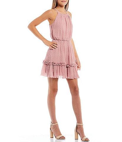 Xtraordinary Halter Clip Dot Tiered Flounce Dress