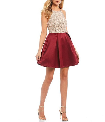 Xtraordinary Halter Neck Lace Bodice Color Block Fit and Flare Dress