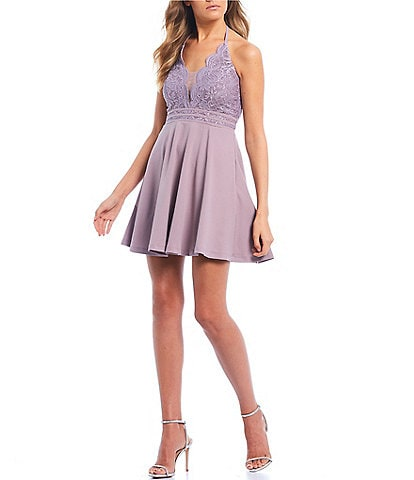Xtraordinary Halter-Neck Lace Bodice Fit & Flare Dress