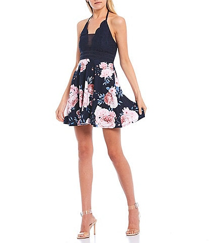 Xtraordinary Halter Neck Lace Bodice Floral Print Dress