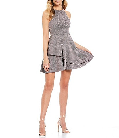Xtraordinary Halter-Neck Shimmer Double Hem Fit-and-Flare Dress
