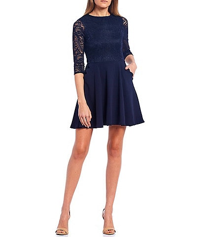 Xtraordinary Lace Bodice Scalloped Pocket Fit-and-Flare Dress