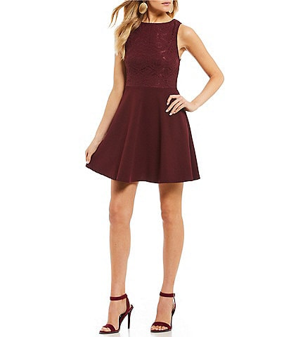 Xtraordinary Lace Bodice Tie-Back Fit-And-Flare Dress