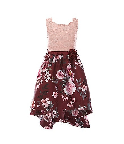 Xtraordinary Little Girls 4-6X Glitter Lace/Floral Hi-Low Dress