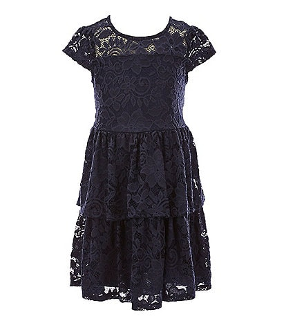Xtraordinary Little Girls 4-6X Illusion Lace Tiered Fit-And-Flare Dress