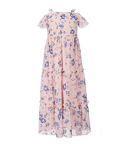 Xtraordinary Little Girls 4-6X Smocked Clip Dot/Floral Maxi Dress