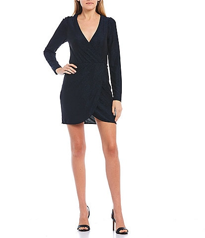 Xtraordinary Long-Sleeve Glitter Knit Faux-Wrap Dress