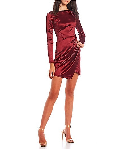 Xtraordinary Long Sleeve Satin Side Wrap Dress