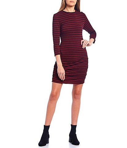 Xtraordinary 3/4-Sleeve Stripe Ruched Side Fitted Dress