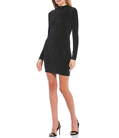 Xtraordinary Mock-Neck Glitter Knit Bodycon Dress