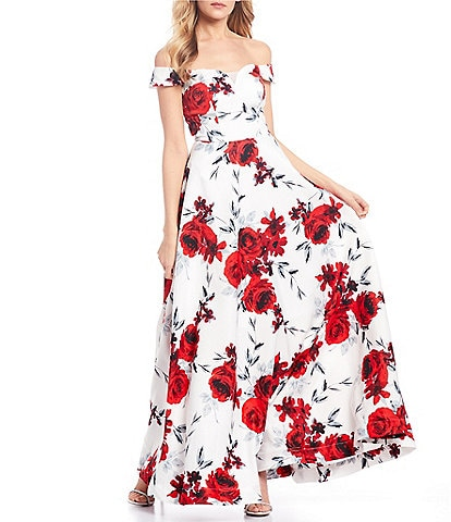 Xtraordinary Off-The-Shoulder Cap-Sleeve Floral Print Ball Gown