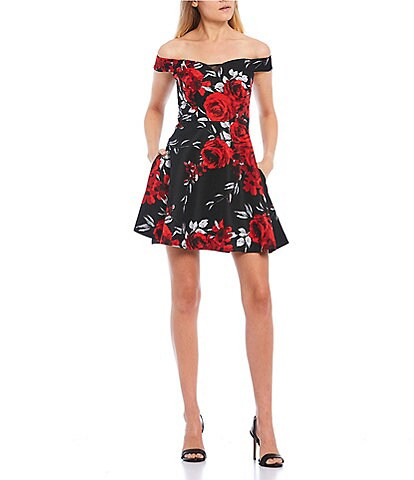 Xtraordinary Off-The-Shoulder Cap-Sleeve Floral Print Satin Fit-and-Flare Dress