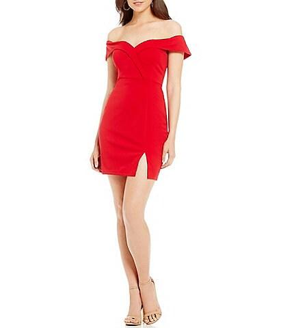 Xtraordinary Off-the-Shoulder Crepe Scuba Sheath Dress