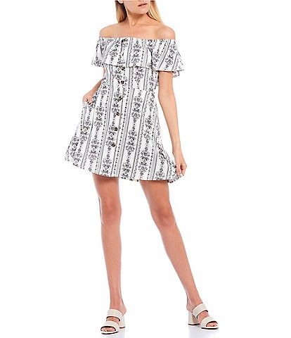 Xtraordinary Off-the-Shoulder Pop-Over Button-Front Printed Knit Dress