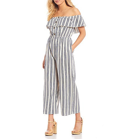 Xtraordinary Off-the-Shoulder Ruffle Neck Button-Front Striped Jumpsuit