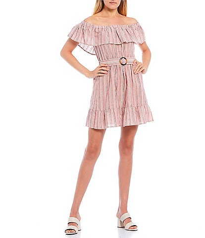 Xtraordinary Off-the-Shoulder Ruffle Stripe Belted Dress