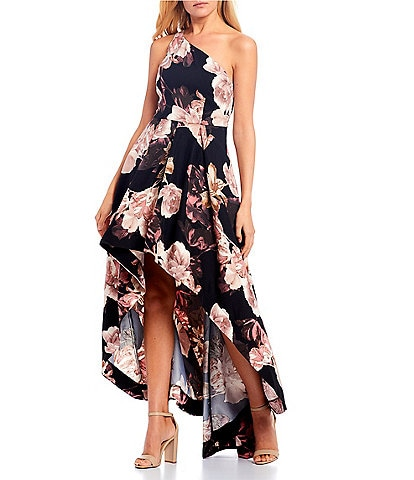 Xtraordinary One-Shoulder Floral High-Low Long Dress