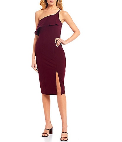 Xtraordinary One-Shoulder Side Slit Midi Sheath Dress