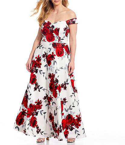 Xtraordinary Plus Off-the-Shoulder Cap Sleeve Floral Print Gown