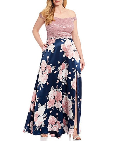 Xtraordinary Plus Off-the-Shoulder Lace Top with Floral Print Side Slit Skirt Long Two-Piece Dress