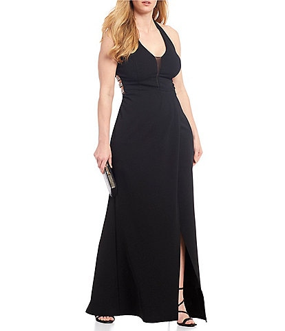 Xtraordinary Plus Sleeveless Halter-Neck Triple Beaded Side Side Slit Long Dress