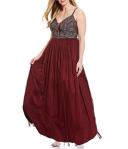 Xtraordinary Plus Spaghetti Strap Illusion Caviar Beaded Bodice Tulle Skirt Gown