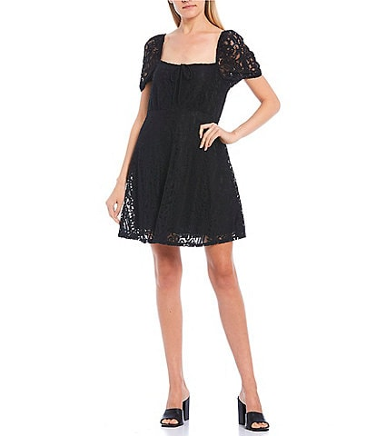 Xtraordinary Puff Sleeve Square-Neck Lace Skater Dress