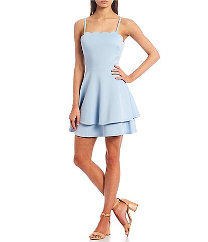 Xtraordinary Scalloped Square-Neck Double Hem Fit-and-Flare Dress