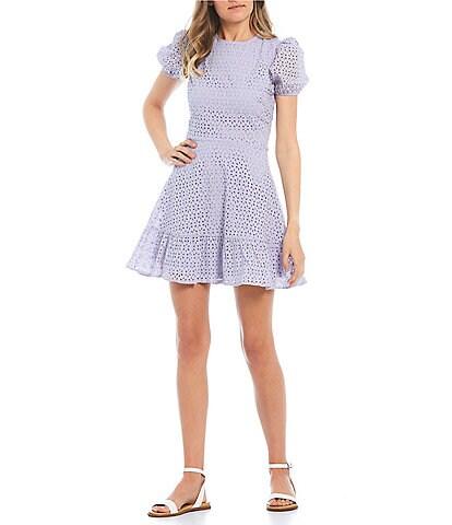 Xtraordinary Short Puff Sleeve Eyelet Dress