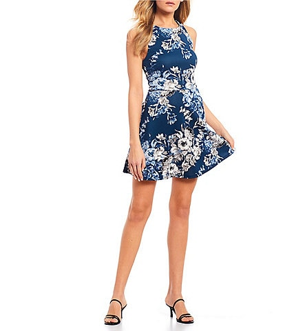 Xtraordinary Sleeveless Floral Print Fit-and-Flare Dress