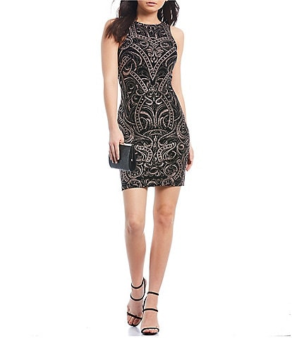 Xtraordinary Sleeveless Glitter Pattern Slinky Sheath Dress