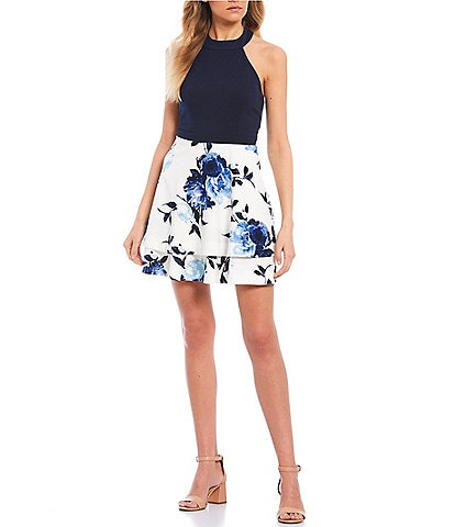 Xtraordinary Sleeveless High-Neck Floral Print Skirt Fit-and-Flare Dress