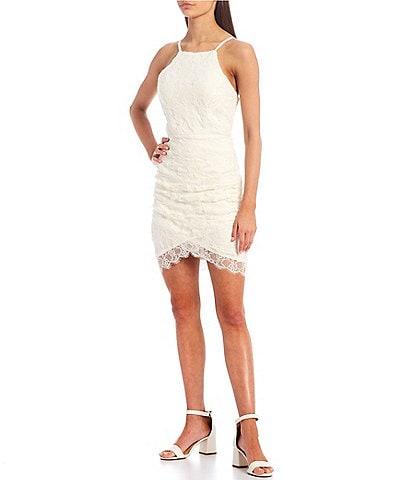 Xtraordinary Sleeveless High-Neck Lace Asymmetric Hem Dress