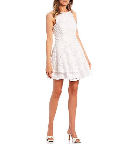 Xtraordinary Sleeveless Lace Double Hem Fit-and-Flare Dress
