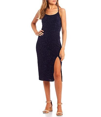 Xtraordinary Sleeveless Round Neck Lace-Up Back Glitter-Knit Side Slit Midi Sheath Dress