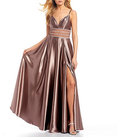 Xtraordinary Spaghetti Strap Beaded Waist Side Slit Satin Long Dress