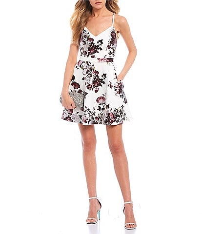 Xtraordinary Spaghetti Strap Foiled Floral Print Fit-and-Flare Dress