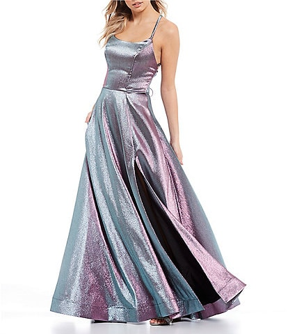 Xtraordinary Spaghetti Strap Lace-Up Back Side Slit Metallic Shimmer Ball Gown