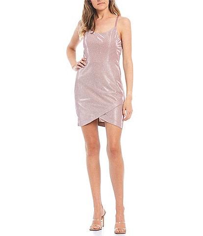 Xtraordinary Spaghetti Strap Scoop-Neck Shine Faux-Wrap Dress