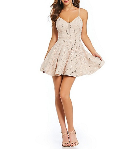 Xtraordinary Spaghetti Strap Sequin Lace Plunging Fit and Flare Dress