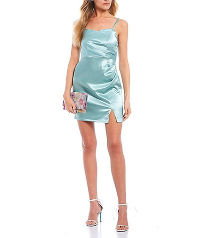 Xtraordinary Spaghetti Strap Sweetheart-Neck Satin Wrap Sheath Dress