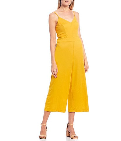 Xtraordinary Spaghetti Strap V-Neck Tie-Back Cropped Jumpsuit
