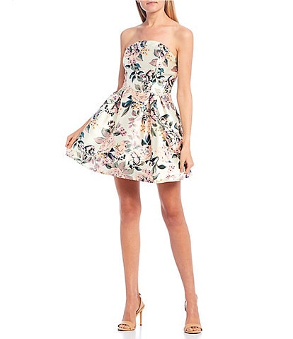 Xtraordinary Strapless Floral Mikado Fit-and-Flare Dress