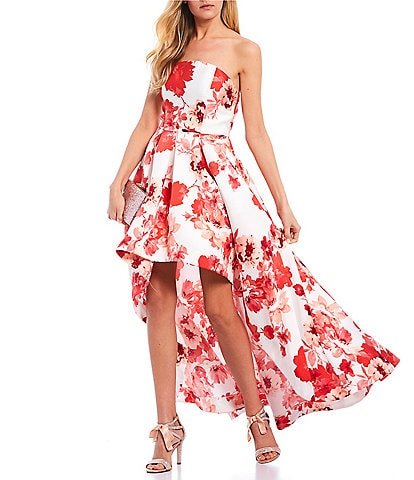 Xtraordinary Strapless Floral Print Long High-Low Dress