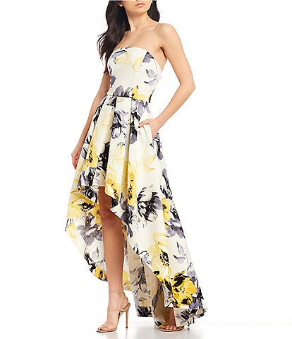 Xtraordinary Strapless Floral Print Satin Long High-Low Dress