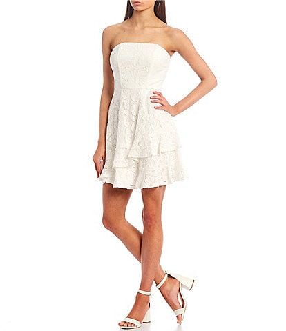 Xtraordinary Strapless Lace Asymmetric Double Hem Fit-and-Flare Dress