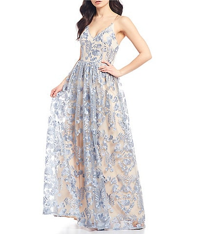Xtraordinary V-Neck Floral Embroidered Ball Gown